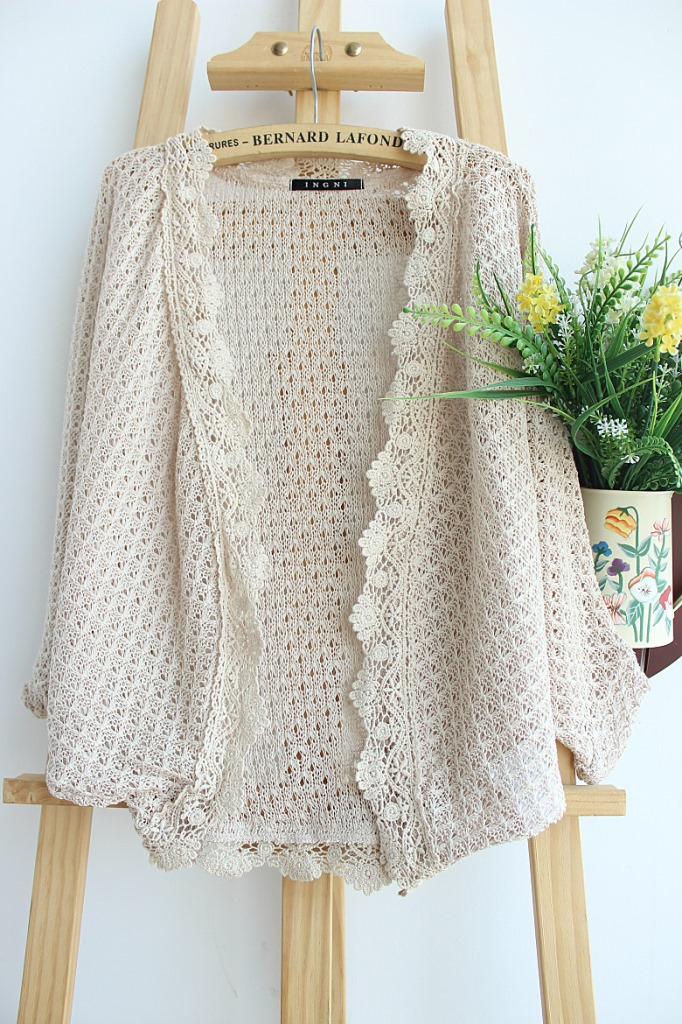 Black White Knitted Summer Ruffled Cardigans 2016 NEW Hot Mori Girl Streetwear Crochet Hollow Out Batwing Blouse(China (Mainland))