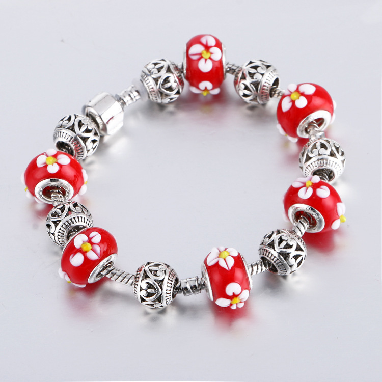 Plated Silver Core Glass Beads Multicolor Faceted Murano Glass Beads Suitable for Diy Style Charms Bracelets(China (Mainland))