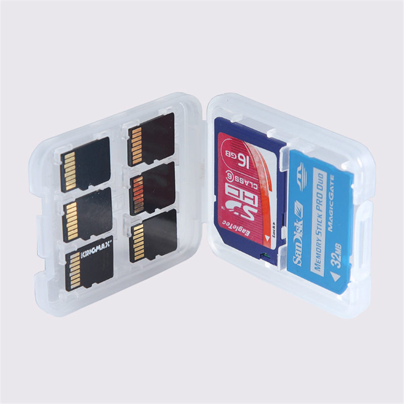 High Quality 5pcs/lot 8 in 1 Plastic Transparent Micro For SD SDHC TF MS Memory Card Storage Case Box Bag Protector Holder(China (Mainland))