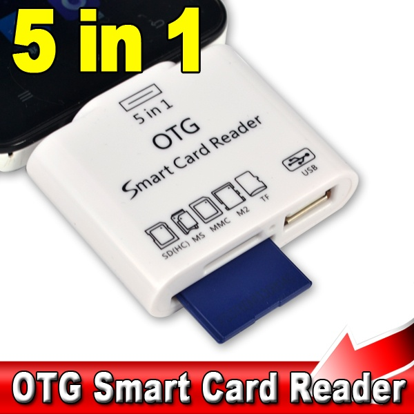 5 in 1 Micro USB V8 OTG Smart Card Reader Adapter for SD MS MMC M2 TF Card Connection Kit For Android Phones For Sony Xperia(China (Mainland))
