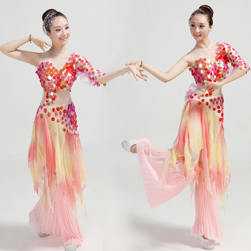 Chinese classical dance clothing poetic myth rhinestone sequined fish dance costumes national/fan/umbrella dance costumes(China (Mainland))