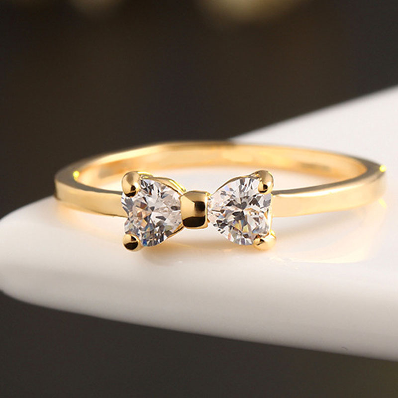 cz diamond rings gold plated finger bow ring wedding engagement rings