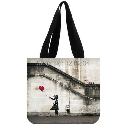 Graffiti Artist Banksy Famous Work&Balloon Girl Theme Background Tote Bag(China (Mainland))
