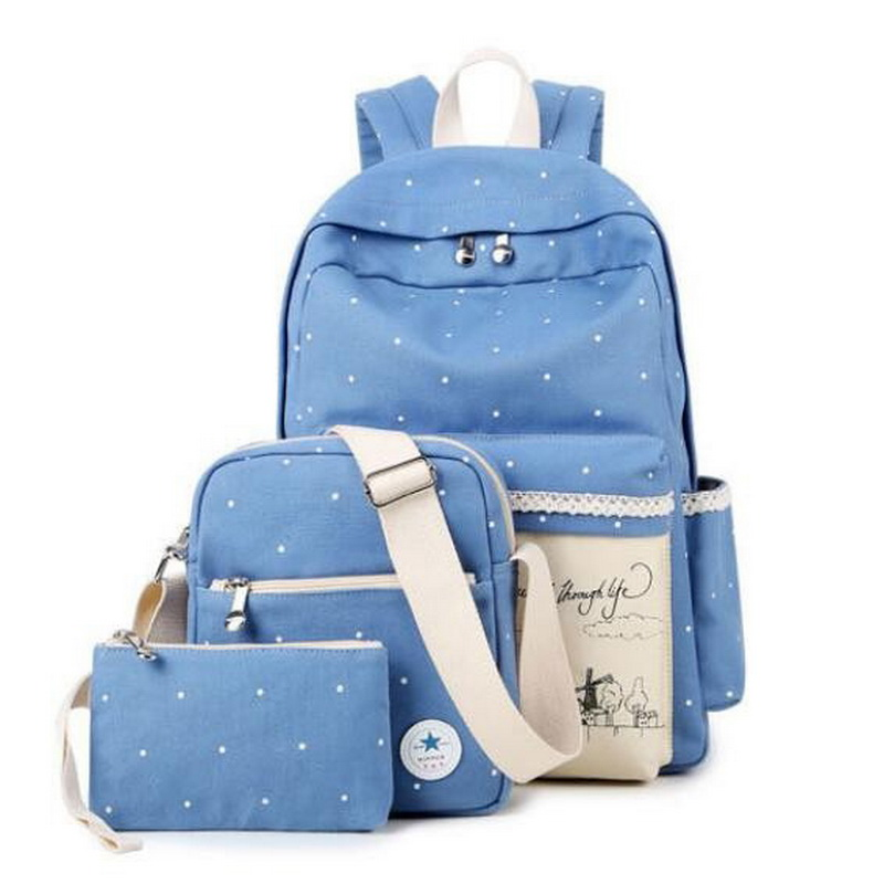 Korean Sweet Lady Composite Bag Casual Cotton Women Bookbags Canvas Doted Printing Backpack School Bags for Teenage Girls XB340<br><br>Aliexpress