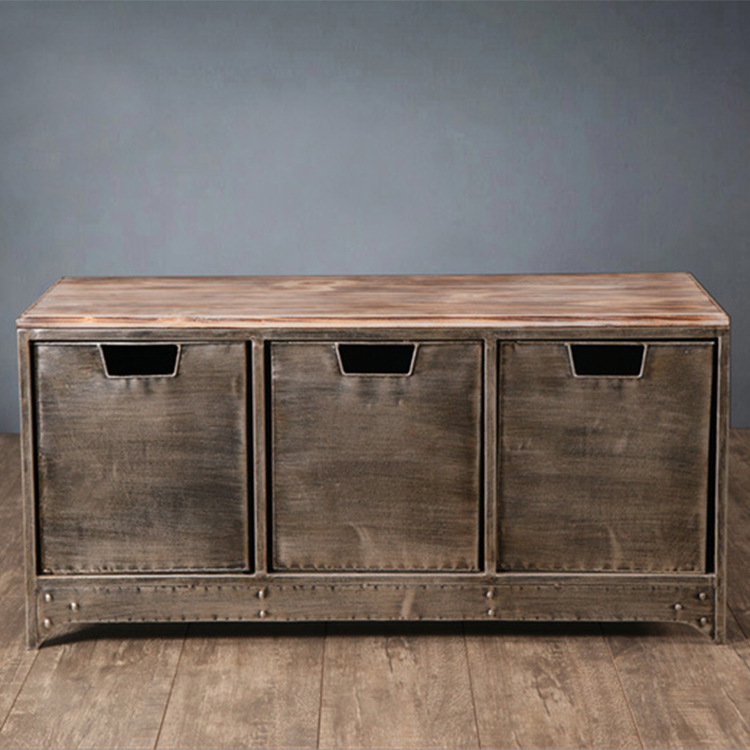 However gifted the home locker American retro to do the old wrought iron drawer storage cabinet creative wrought iron wood cabin(China (Mainland))