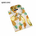 QIHUANG Women Causal Shirt Tops 2017 New Brand Women Cotton Long Sleeve Blouse Pineapple Print Female