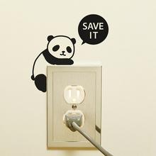 2015 Cartoon Animal Save It Panda Removable Art Vinyl Light Switch Sticker Home Wall Decal Window Decoration(China (Mainland))