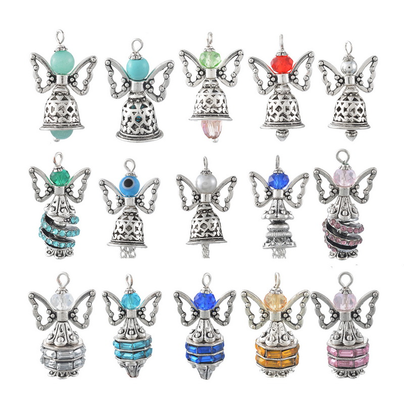 4*1PC Guardian Angel Wing Pendants With Christmas Bells For Jewelry Making Hole Size 2mm Antique Silver Plated(China (Mainland))