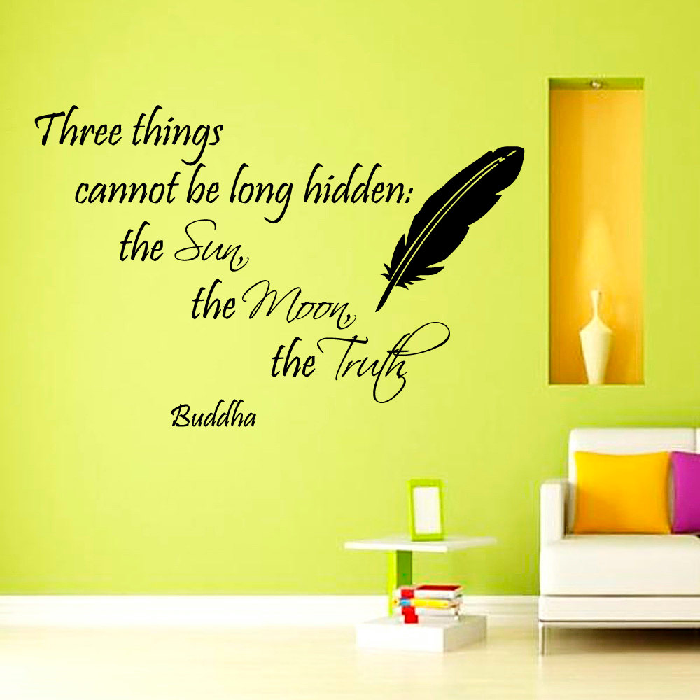 DCTOP Three Things Cannot Be Long Hidden Buddha Wall Decal Vinyl Art Home Decor Black Feather Sticker(China (Mainland))