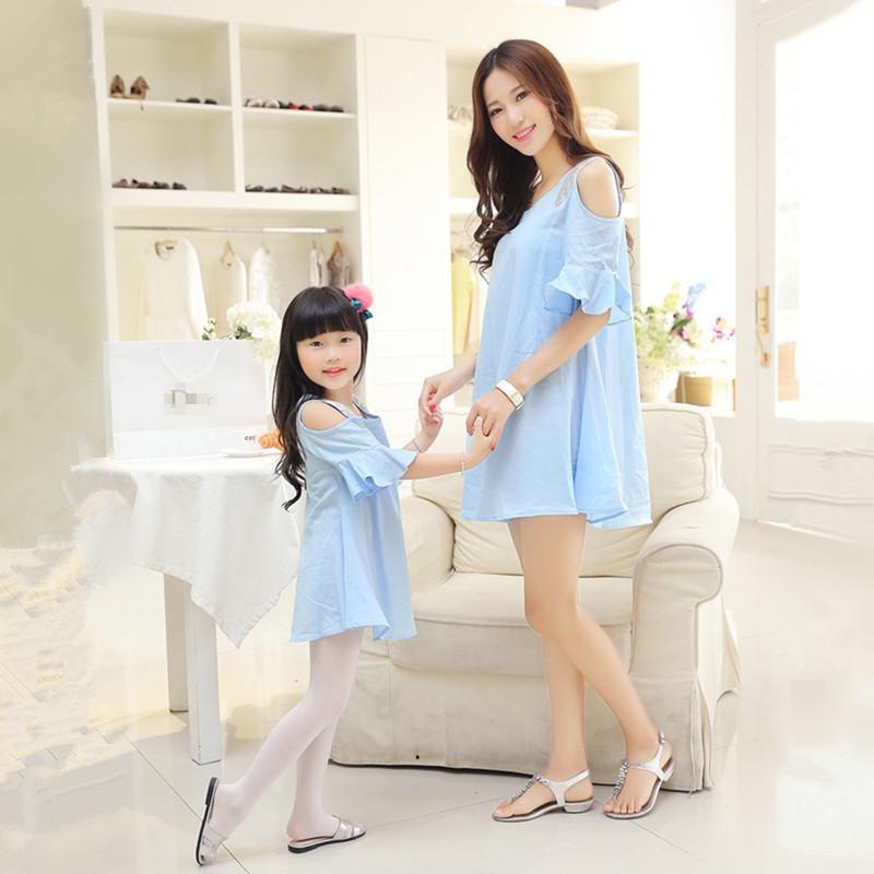 2016 Summer Mom Daughter Dress Strapless Short Sleeved Flounce Dress Loose Dress font b Family b