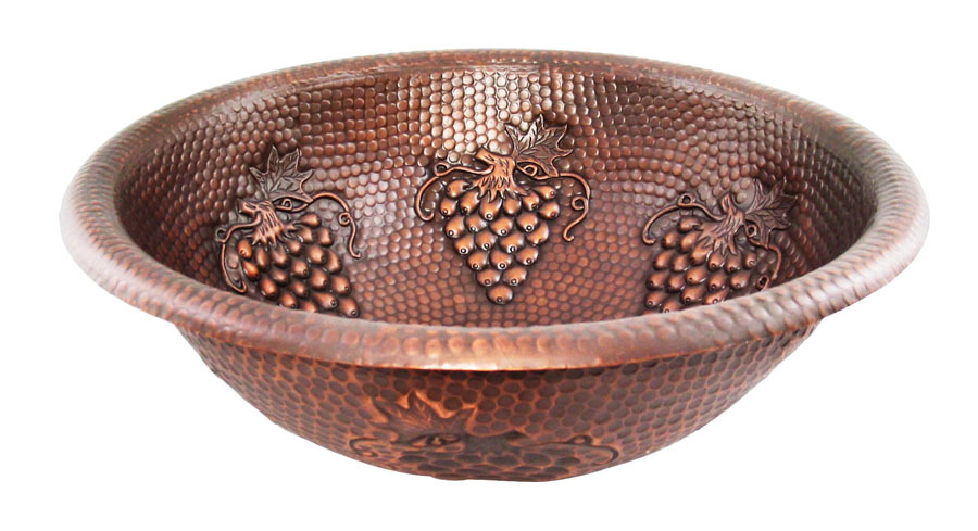 Grape Clusters Decorative Round Hammered Copper Vanity Sink Bowl Rolled Rim Luxury Construction Bathroom Bronze Basin Brass(China (Mainland))