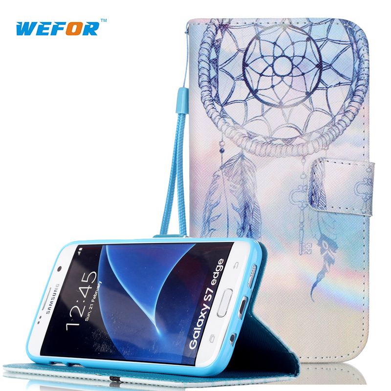 For S7 Edge Customized! New Fashion Leather Phone Cases For Samsung Galaxy S7 Edge G9350 Stand Cover /w wallet and card holder(China (Mainland))