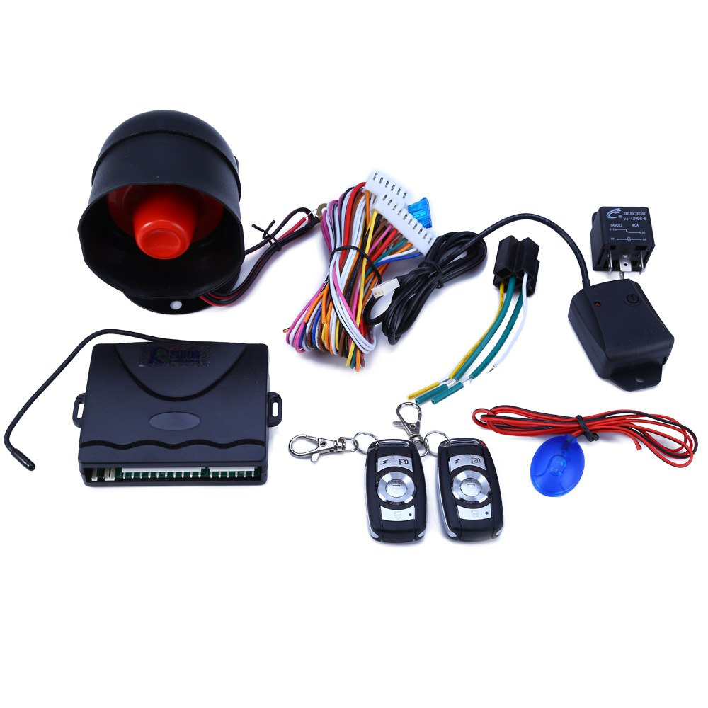Car Alarm System One Way Vehicle Burglar Alarm Security Protection System with 2 Remote Control Auto Central Door Locking Device(China (Mainland))
