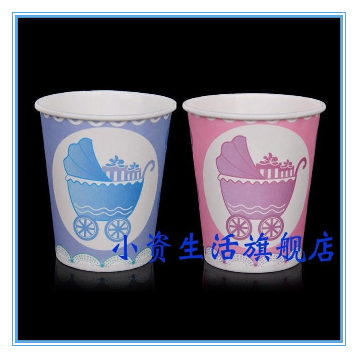 2015 New Arrival Hot Sellingv Cute Blue Or Pink Baby Car Pattern party Decoration Paper Cup For the dinner(China (Mainland))