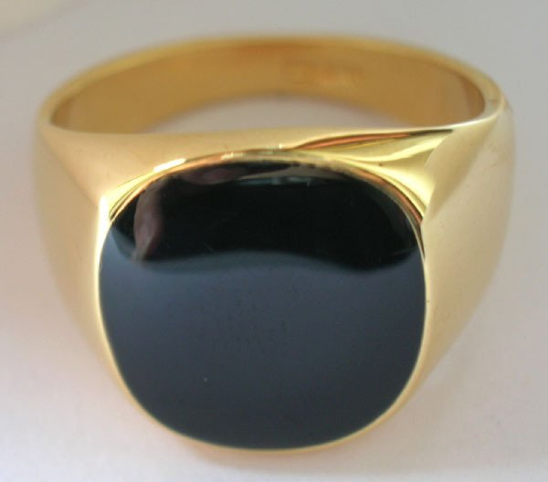 ;Ring Size8-11.Exquisite Black Onyx 18K GP Yellow Gold Men's Ring; Style free collocation. 3 preferential prices. - Beauty Jewelry store