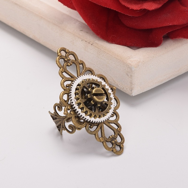 1pc Steampunk Lady Gears Floral Ring