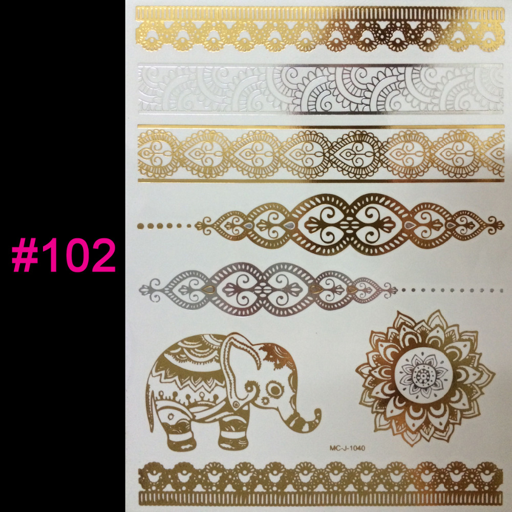 wholesale hot temporary tattoo gold silver tattoo Flash tattoos women arm indian body art sticker sex