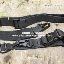 Black color 3 Point tactical gun sling Airsoft Hunting Sling nylon webbing+heavy duty buckle rifle rope sling(China (Mainland))