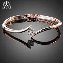AZORA Rose Gold Plated Stellux Austrian Crystal Rose Elegant Bangle Bracelet TB0011(China (Mainland))