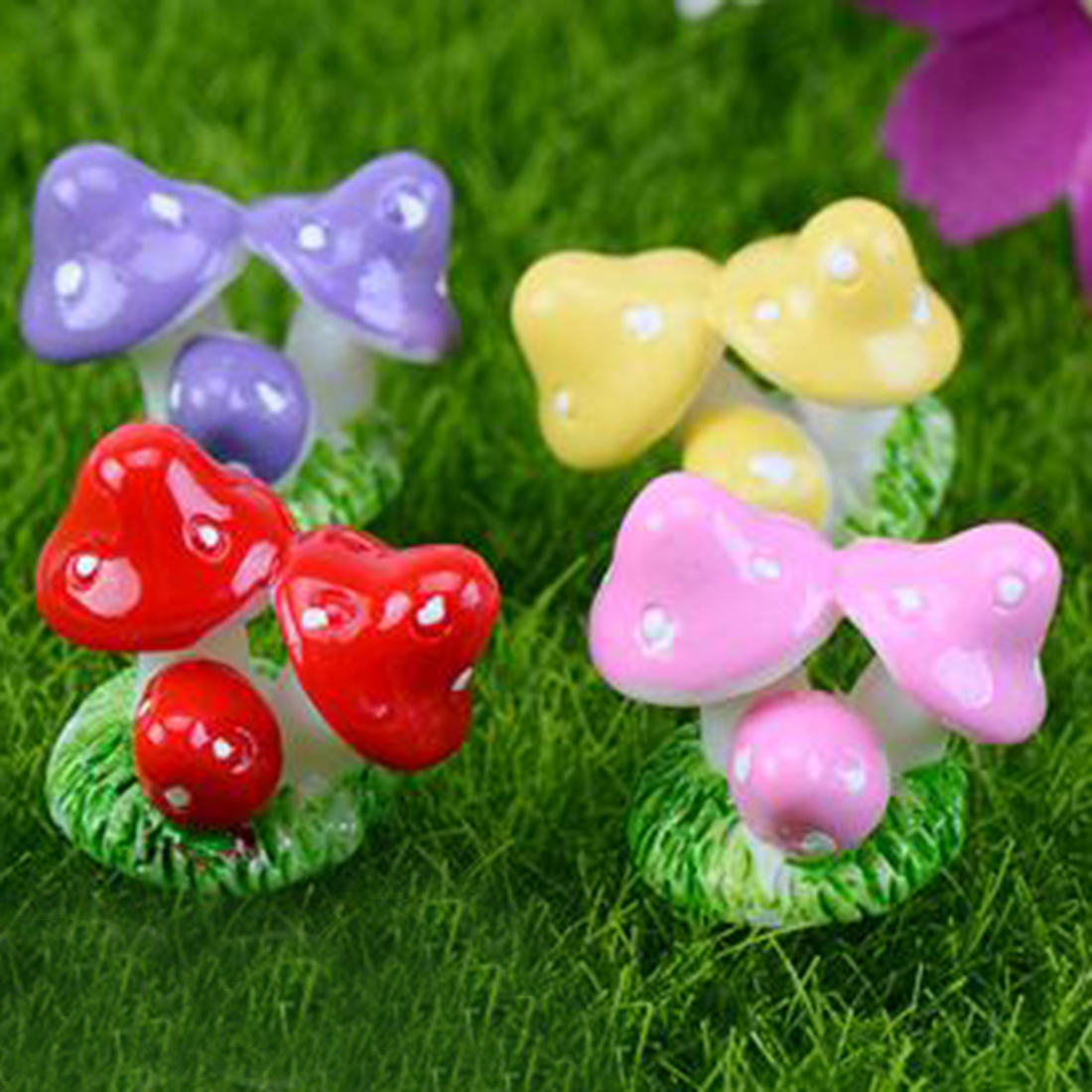Mini Small Mushroom Small Ornaments Three Mushrooms Fairy Decor Home Decor Miniature Gardening Accessories(China (Mainland))