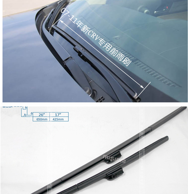 Rubber Windscreen Wipers Windshield Wiper Blade Honda CRV CR-V 2007 2008 2009 2010 2011 2012 2013 2014 26 inch+17 inch - duoduo Technology Co., Ltd. store