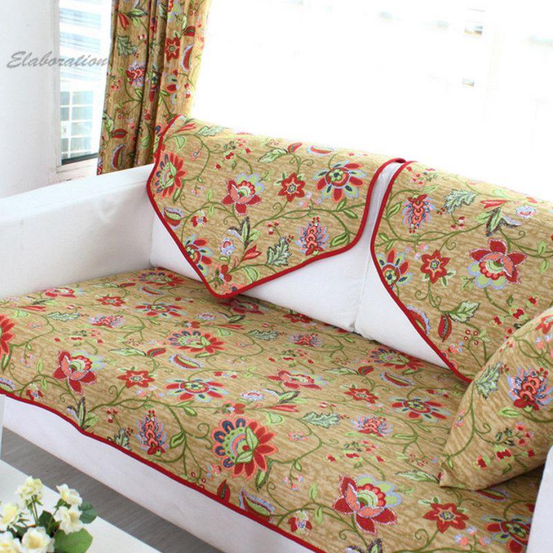 Cotton Slipcover Pastoral Floral Print Funda Sofa Cushion