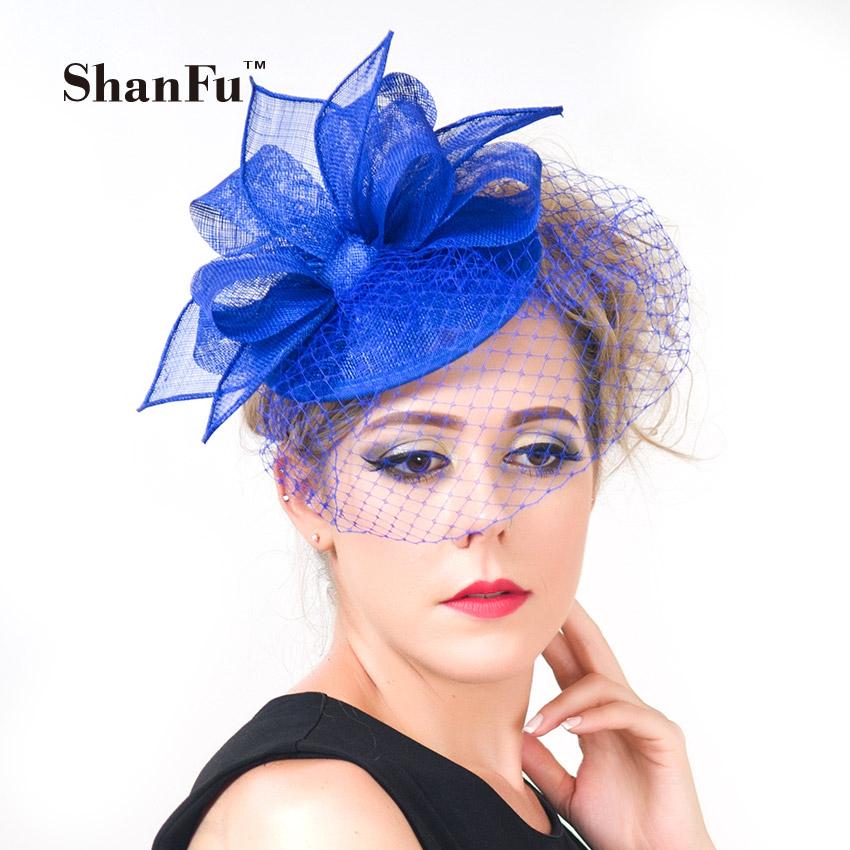 ShanFu New Women Vintage Pill Box Fascinators Hat Elegant Wedding Hat with Birdcage Veil White Royal Blue SFCS12418 6pcs/lot(China (Mainland))