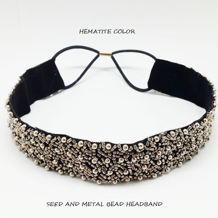 2014new fashion style of hematite metal and glass bead handmade elastic headband of women Hair Accssories Free shipping(China (Mainland))