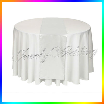 HOT/Free shipping 10PCS White Satin Table Runners Wedding Party(China (Mainland))
