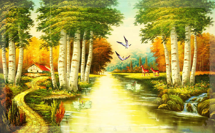 Nature river since the design of modern household wall paint murals background wallpaper with high quality wallpaper new york(China (Mainland))