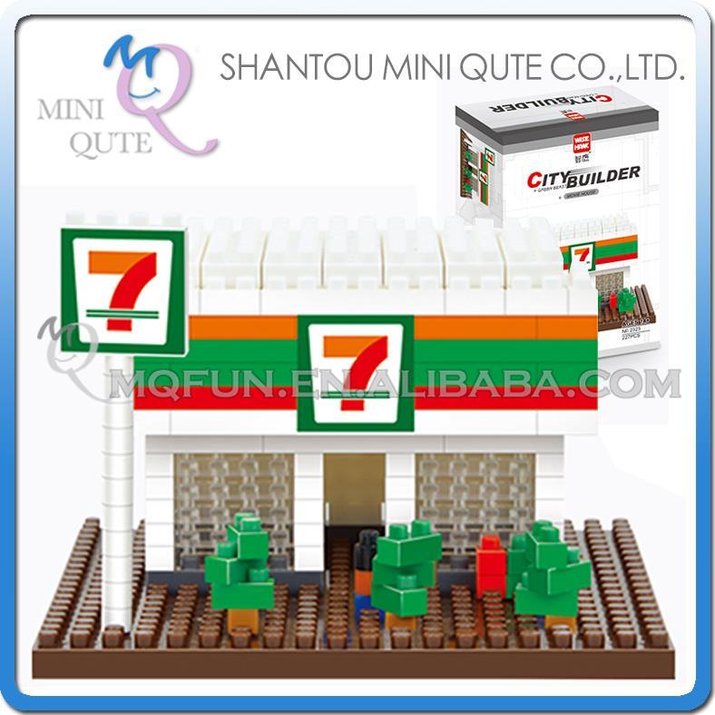 96pc/lot Mini Qute Kawaii WISE HAWK 7-11 retail store Shop kids nano plastic building blocks model brick educational toy NO.2323(China (Mainland))