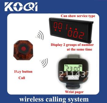 Top popular Wireless service calling system ;1 set of 1pcs LCD Display+1pcs Watch receiver+15pcs table calling buttons