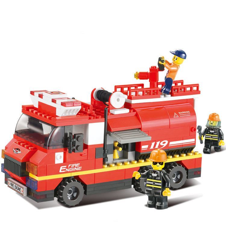 High quality 281pcs Fire water tankers model building kits 3D children early education block toys(China (Mainland))