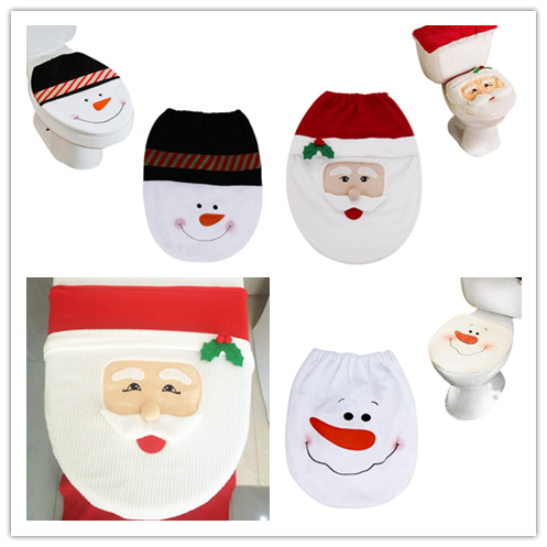 Best Quality Hot Style Christmas Toilet Seat Cover Christmas Home Decoration For Bathroom Seat Cover Santa Adornos Navidad 2015