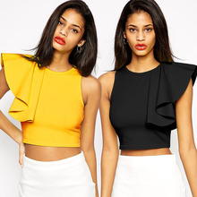 2015 Summer Style Fashion Sexy Crop Tops For Women One Should Camisole Shirt Casual Sexy Short Ruffled Crop Top Black Yellow(China (Mainland))