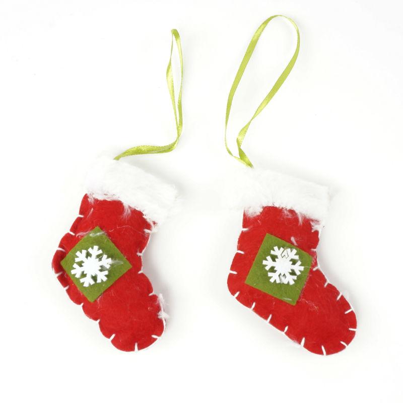 cheap Christmas ornament 1 set hanging sock fabrics Christmas tree decoration for home cloth craft christmas gift(China (Mainland))