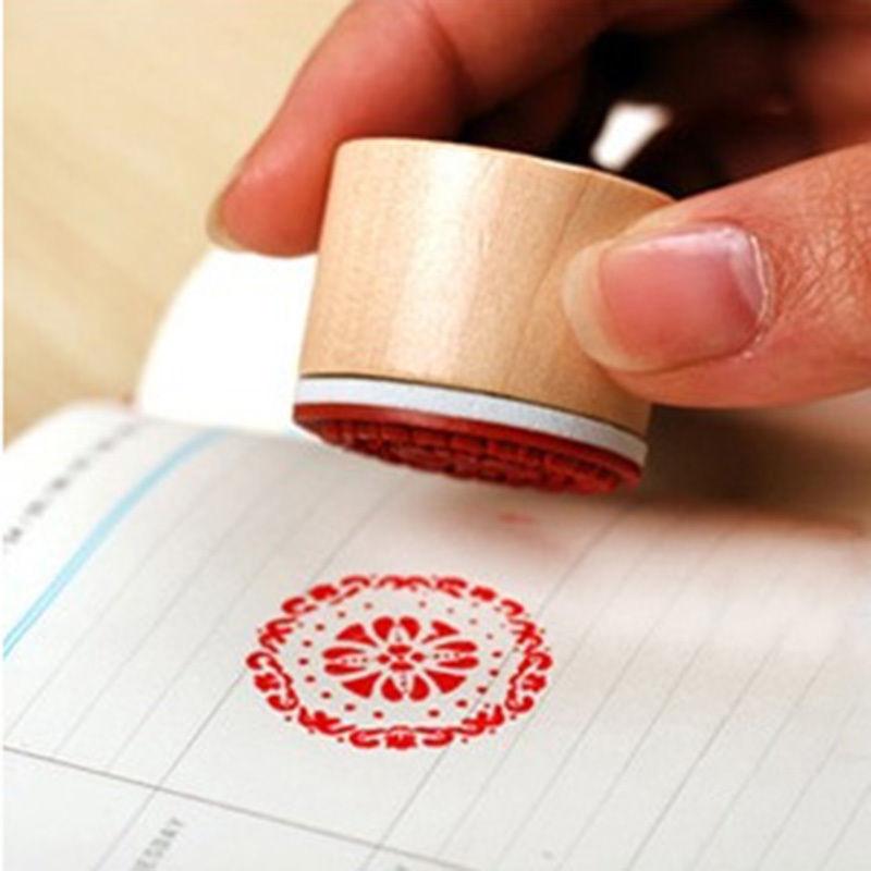 6pcs/SET Assorted Retro Vintage Floral Flower Pattern Round Wooden Rubber Stamp Scrapbook DIY(China (Mainland))