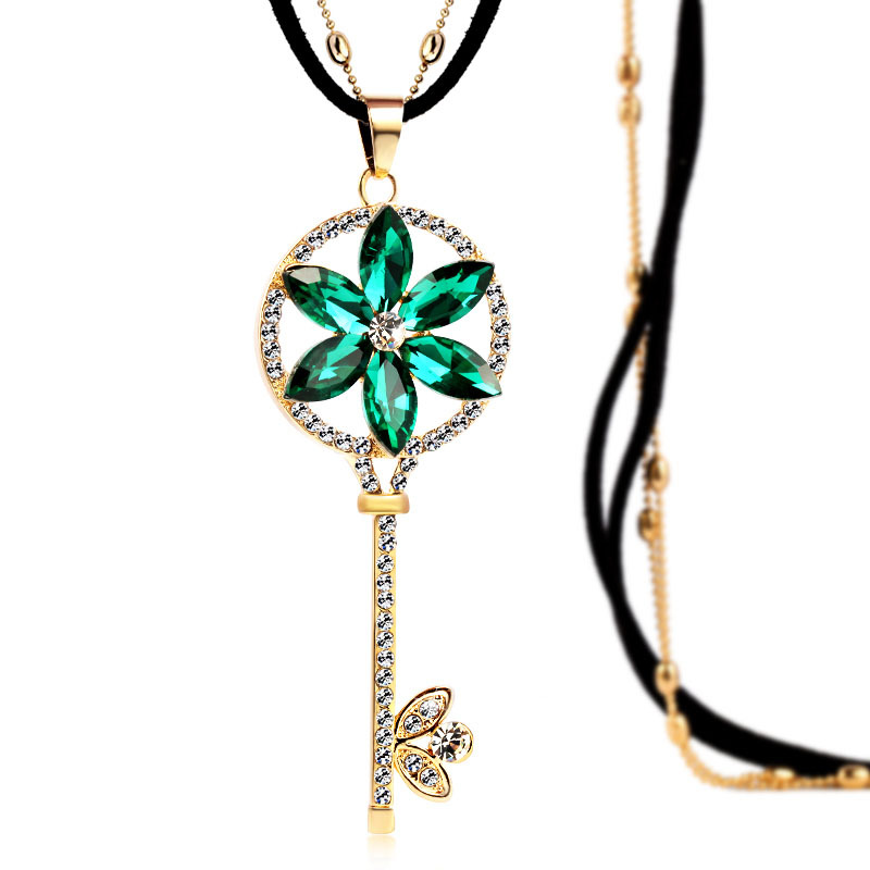 Top Quality Fashion Necklace Zinc Alloy Blue And Green Crystal Rhinestone Classic Key Necklace Women Long Necklaces Jewelry(China (Mainland))