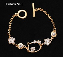 Free Shipping wholesale 18k gold Plated Bracelet top quality Hello kitty New Arrival hot women Jewelry classy design Bracelet(China (Mainland))