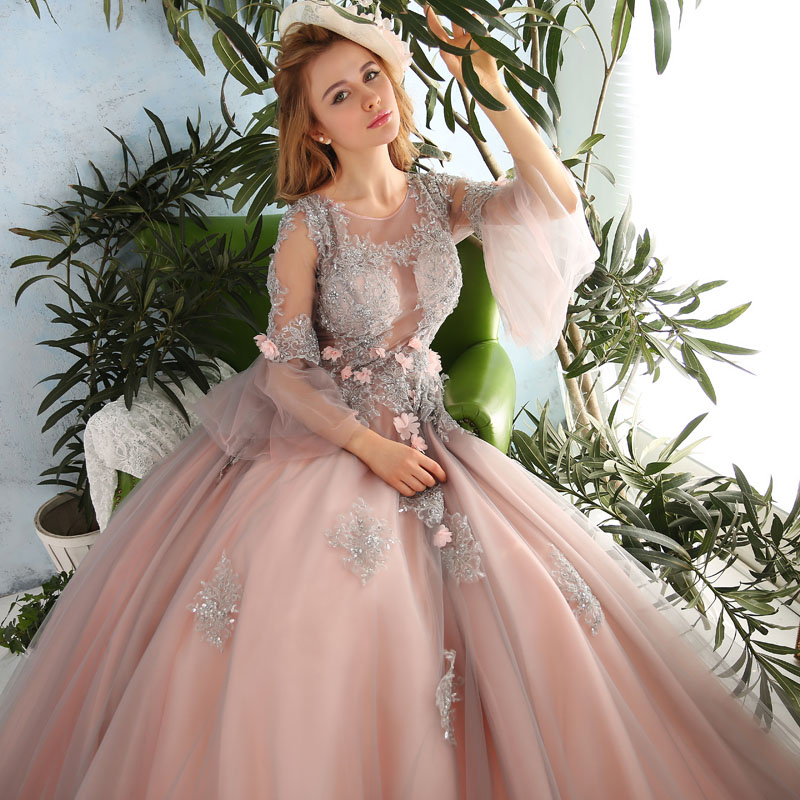 Online get cheap peach wedding dress for Fairytale ball gown wedding dresses