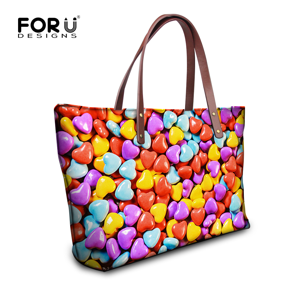 FORUDESIGNS Casual Women Hangbag Heart-shaped Pattern Shoulder Bags Female Large Shopping Bag Daily Use Ladies Tote Bag