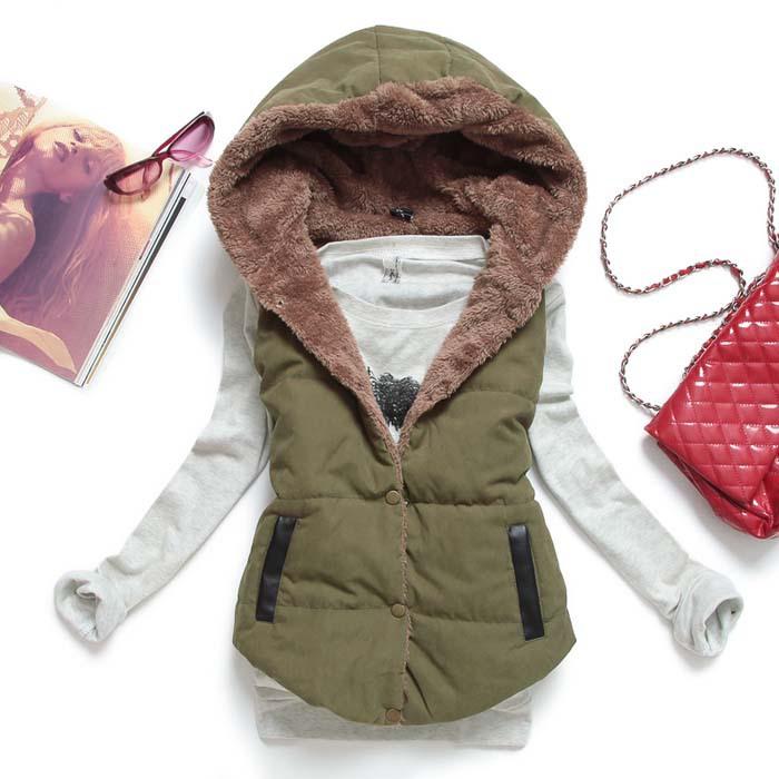 Зима жилет толстый тёплый женщины куртка без рукавов жилет улица стиль colete feminino MJ1