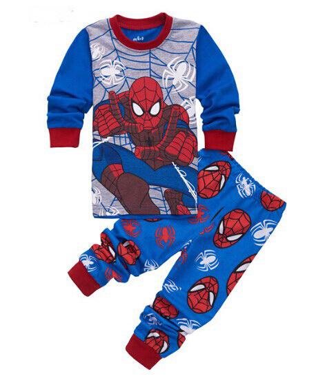 2-7 year Hot Sale Spiderman Pijamas Kids Sets Long Sleeve Cartoon Spider man Infantil Boy Pajamas set Baby Sleep Wear Clothing(China (Mainland))