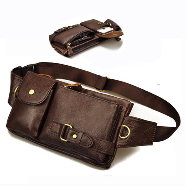 vintage genuine leather small belt bag tactical
