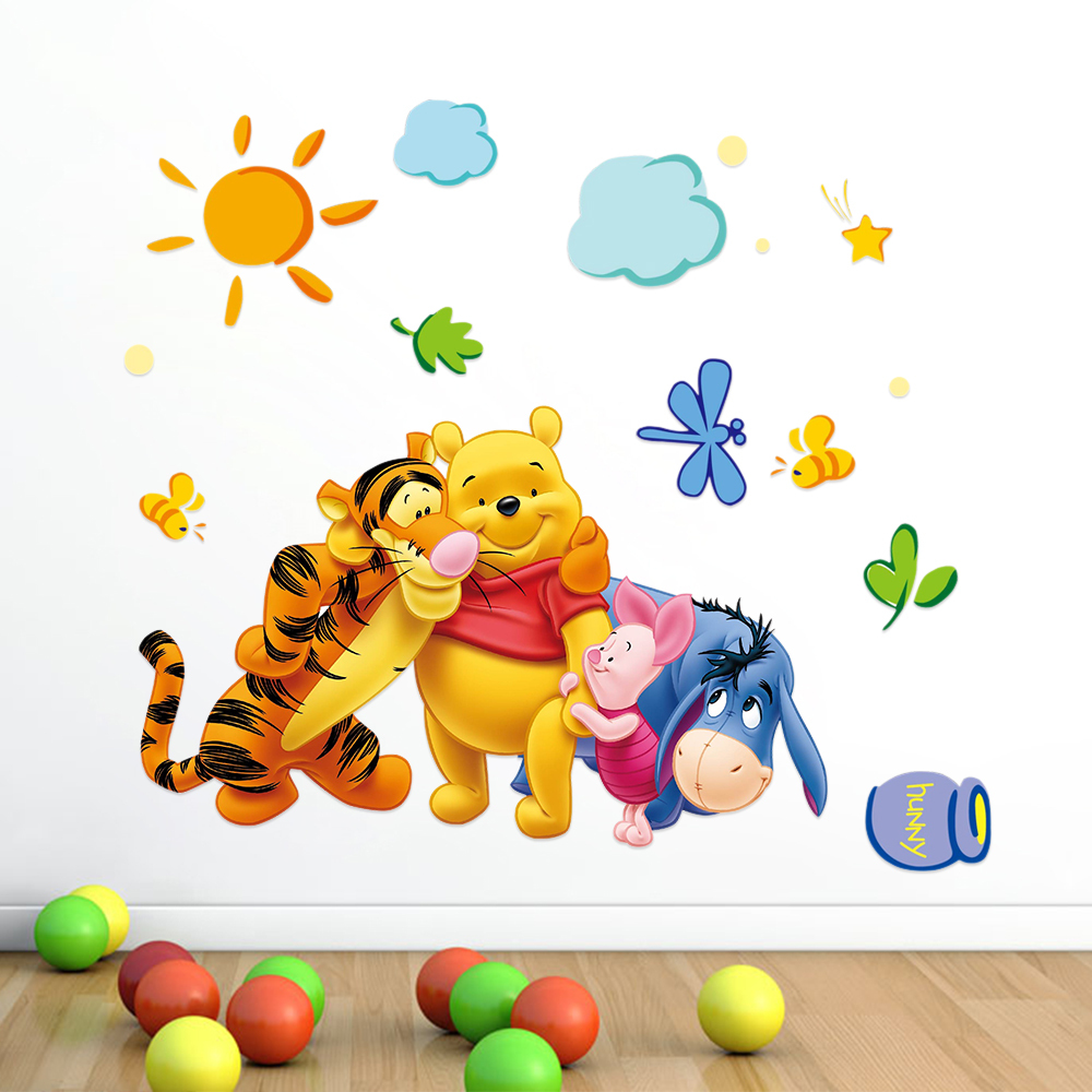 Winnie the Pooh Cartoon Animal Removable Environmental PVC Wall Sticker Decals for Kids Children Rooms Decoration(China (Mainland))