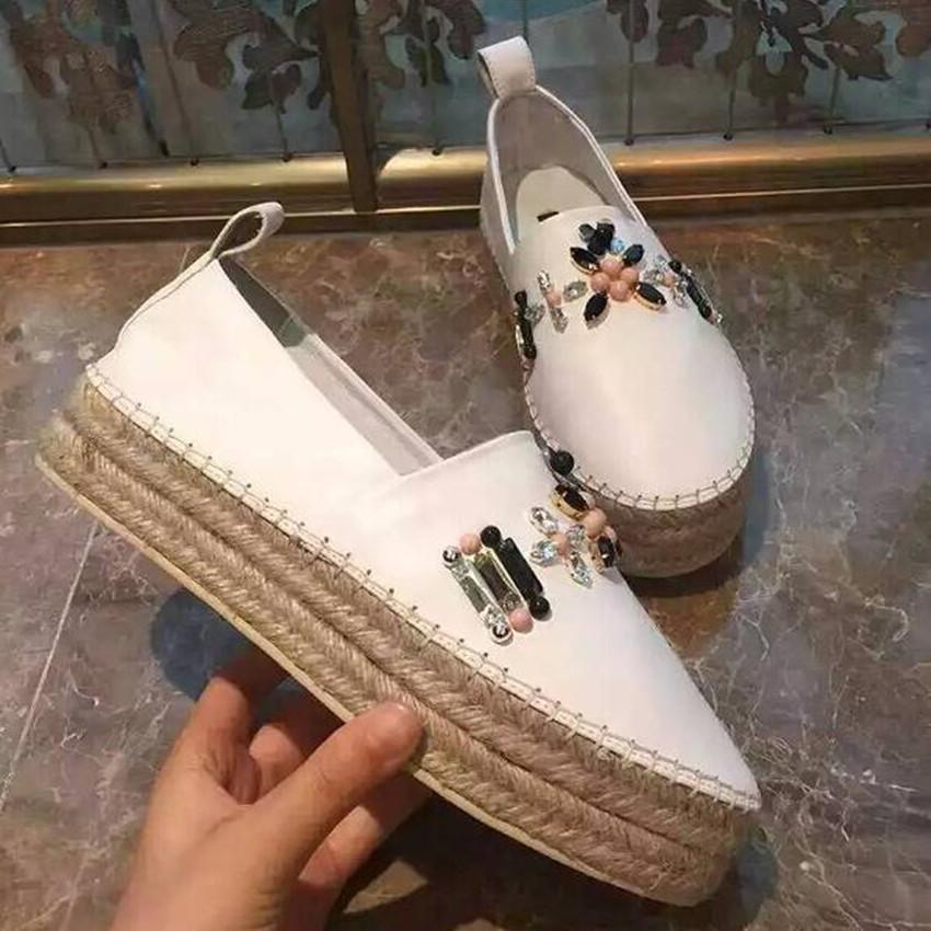 2016 Spring New Women Fashion Flat Platform Hemp Rope Heel Beading Loafers Brand Designer Genuine Leather Casual Slip On Shoes  <br><br>Aliexpress