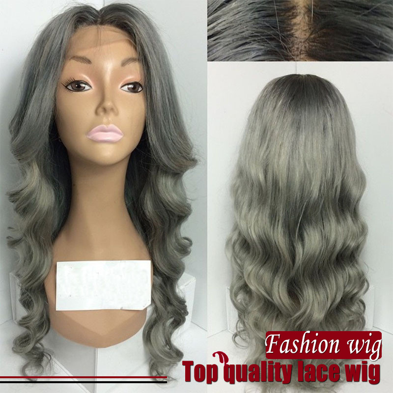 Free Shipping Heat Resistant Fiber Body Wavy Synthetic Hair Wig in Grey Color Synthetic Lace Front Wig For Black Women