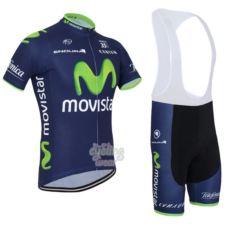 top quality 2015 movistar cycling jersey made of 100% polyester and bibs shorts/custom design cycling clothing(China (Mainland))
