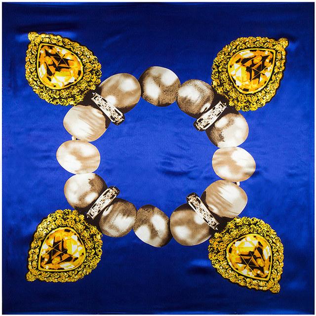 90 см * 90 см европейский подлинной жемчужиной драгоценный браслет печатный фирменное женщины шелковый атлас большой косынка