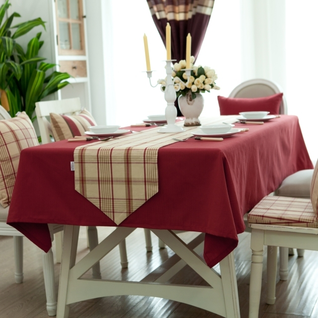 Free shipping New arrival grid table cloth or red dining table cloth two colors for your choice